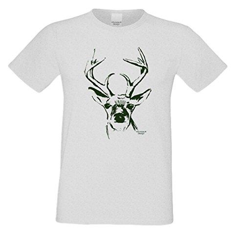 Witziges-Herren-Sprüche-Fun-T-Shirt cooles Volksfest Oktoberfest Party Outfit Motiv Hirsch auch in Übergrößen Farbe: grau Grau