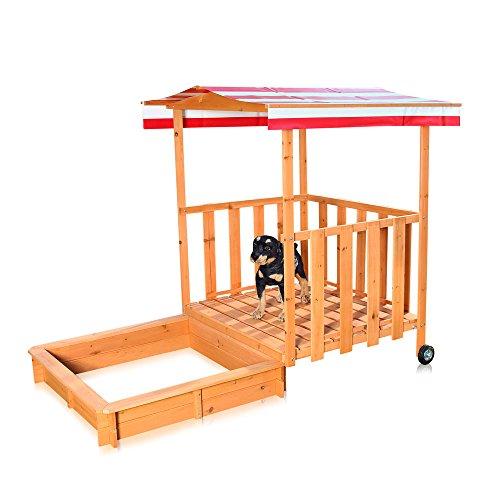 Melko® Sandkasten Spielhaus mit Spielveranda, 182 x 100 x 140 cm, Sandbox Sandkiste aus Kiefernholz + Dach Deckel in Rot