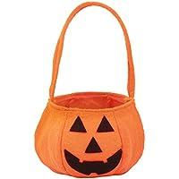 SeniorMar Bolsa de Calabaza de Halloween Cesta de Prop de Halloween portátil Bolsa de Caramelo no Tejido Bolsa de Calabaza Tridimensional 21g