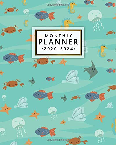 2020-2024 Monthly Planner: Five Year Monthly Agenda & 5 Year Organizer | 60 Months Spread View with To-Do's, Inspirational Quotes, Vision Boards, Notes & More | Nifty Sea Horse & Jellyfish Print (Agenda Big)