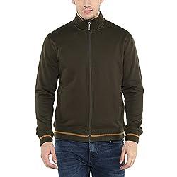 Wills Lifestyle Mens Zip Through Neck Solid Sweatshirt