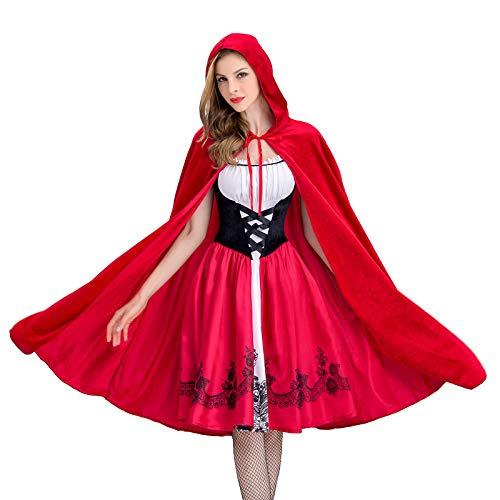 Mittelalterliche Dame Kostüm Adult - Halloween Mittelalterliches Festkleid KostüMe Erwachsene Mottoparty Prinzessin Kleid Damen Mittelalter Kleid+Hut Mantel Rotkäppchen Retro Renaissance Cosplay KostüM Prinzessin Lange Abendkleid