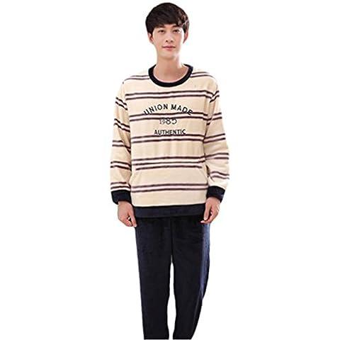 NEWZCER Pijamas de manga larga de invierno establece polka dots franela homewear para hombres