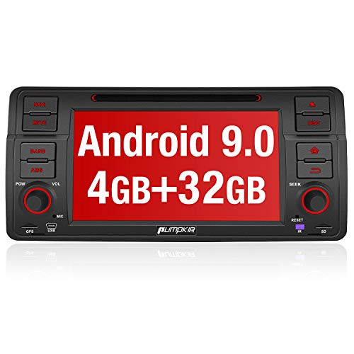 PUMPKIN Android 9.0 Autoradio Radio für BMW 3er E46 mit Navi 4GB / 8 Core Unterstützt Bluetooth DAB + CD DVD Android Auto WiFi 4G USB MicroSD 1 Din 7 Zoll Bildschirm (Radio Navigation Bmw)