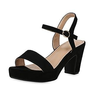 SCARPE VITA Damen Plateau Sandaletten Wildleder-Optik High Heels Schuhe 158292 Schwarz Velours 36