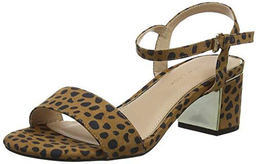 New Look Wide Foot Steel, Scarpe col Tacco Punta Aperta Donna, (Brown Pattern 29), 40 EU