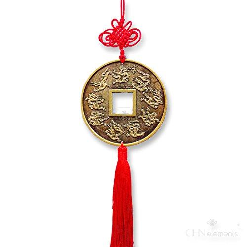 un-gran-hermoso-chino-feng-shui-suerte-monedas-en-relieve-con-nueve-figurita-de-dragones