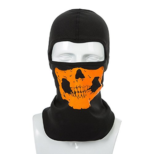 Ducomi® Totenkopf Kopfbedeckung Unisex aus Mikrofasern mit Aufdruck Totenkopfreflektoren 5 verschiedene Modi Indossieren, ideal Schutz gegen Kälte, Pulver und UV-Strahlen, orange
