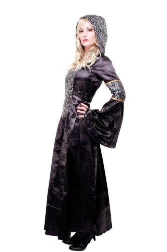 DRESS ME UP Kostüm Damen Damenkostüm aufwändiges Kleid mit Haube Mittelalter Romantik Elfe Gotik Gothic Burgfräulein L068 Gr. 42 / (Prinzessin Arwen Kostüm)