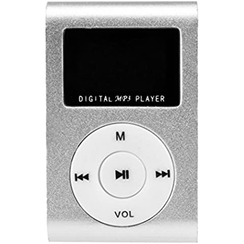 Mini clip en métal Mp3 Player Avec écran LCD + Micro / slot TF Mp3 mémoire extensible jusqu'à 16 Go (NO SD Card) (plata)