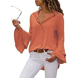 Aleumdr Mujer Camisa Original Blusa Tops de Liso del V-Cuello Camiseta con Botón Naranja Size L