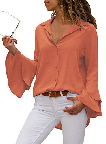 Aleumdr camicia donna con manica a campana bluse e camicie scollo a v camicetta donna elegante con manica lunga tinta unita - arancione