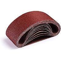 Bandas de Lija, Tacklife 10PCS 75x457mm Papeles de Lija, Banda Abrasiva 2x40/60/80/120/180 Granos, Lijadora de Banda ASB01A