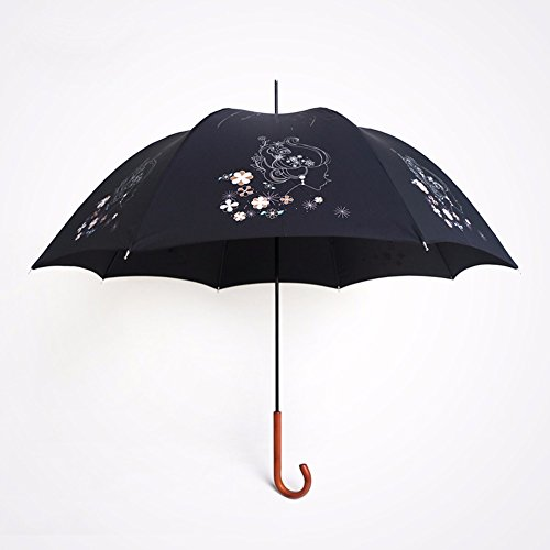 zjm-vintage-wood-handles-long-umbrella-lady-art-flower-umbrella-sunscreenblack