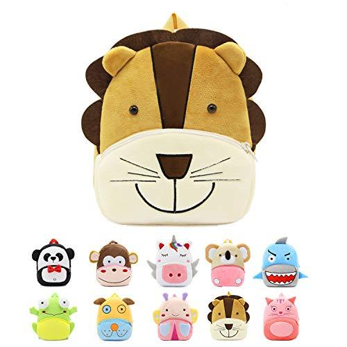 FEDUAN Kinderrucksack Kindergartentasche Kindergarten-Rucksack Kids-Backpack Kuscheltier Tasche niedlich kuschelig süß für 2-5 Jahre Baby Mädchen Junge Kleinkind 6 Liter, Löwe