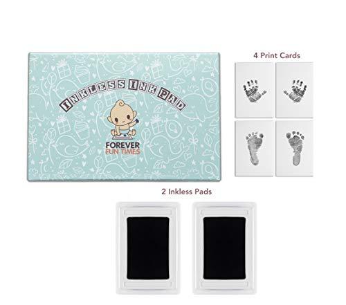 Tintenloses Ink Pad Baby Hand- und Fußabdruck | Schmerzlos Perfekte Drucke Ohne einen Tropfen Tinte auf Deinem Kind | Schnelles und Einfaches Zwei-Stufiges Druck-Set Ohne Tinte (Schwarz, 2) (Einfach Tinte)