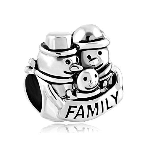 Uniqueen, charms sferico i love my family, adatto ai braccialetti europei, base metal, cod. uq_dpc_fa401