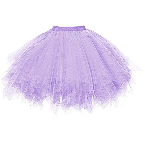 DresseverBrand Damen Petticoat 50er Rockabilly Jahre Retro Tutu Ballet Tüllrock Cosplay Crinoline Lavendel Small/Medium -