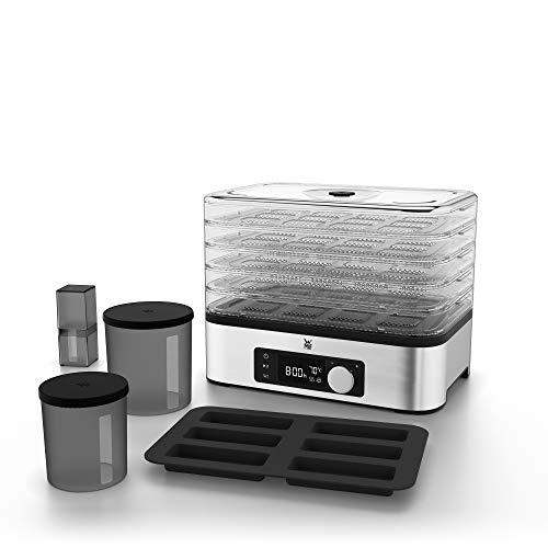 WMF Küchenminis Dörrautomat, 10-teilig, 5 Dörrgitter, Aufbewahrungsboxen, Silikon-Müslieriegelform, Gesamtdörrfläche 2.362,5 cm², Temperatur 30 bis 70° C einstellbar, bis zu 24 Stunden Dörrzeit