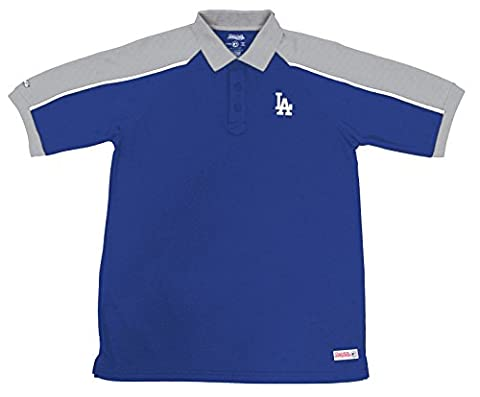 MLB Los Angeles Dodgers Color Blocked Polo with Lined Mini Mesh Panels, Royal, Medium