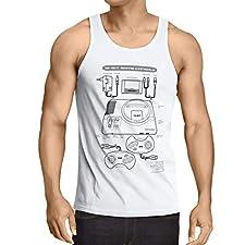 style3 Mega 16-bit Camiseta de Tirantes para Hombre Tank Top Gamer Classic Retro Videoconsola Sonic Drive, Talla:2XL, Color:Blanco
