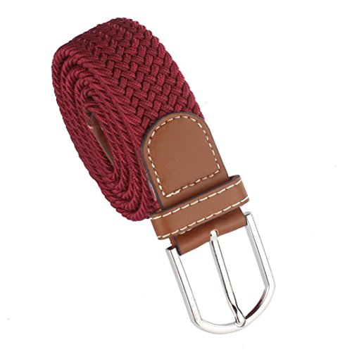 Kanpola Herren Gürtel Leder geflochtene elastische Stretch Metallschnalle Gürtel Bund (105, Rot) (Behandeln Leinwand)