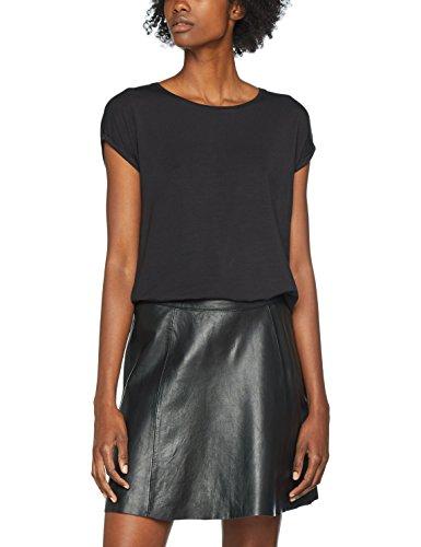 VERO MODA Damen T-Shirt Vmava Plain SS Top GA Noos, Schwarz (Black Black), 40 (Herstellergröße: L)