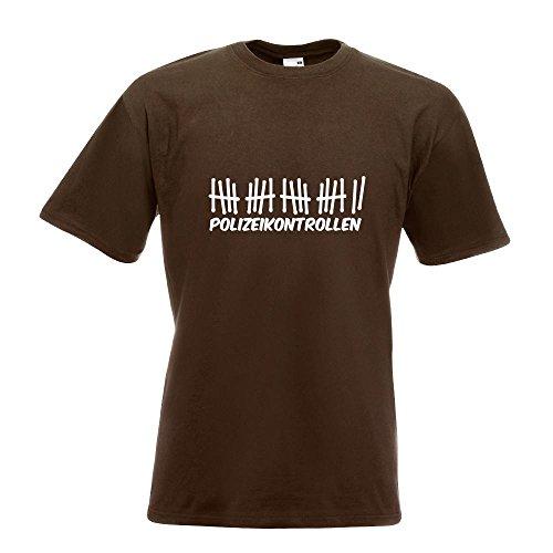 KIWISTAR - Polizeikontrollen T-Shirt in 15 verschiedenen Farben - Herren Funshirt bedruckt Design Sprüche Spruch Motive Oberteil Baumwolle Print Größe S M L XL XXL Chocolate