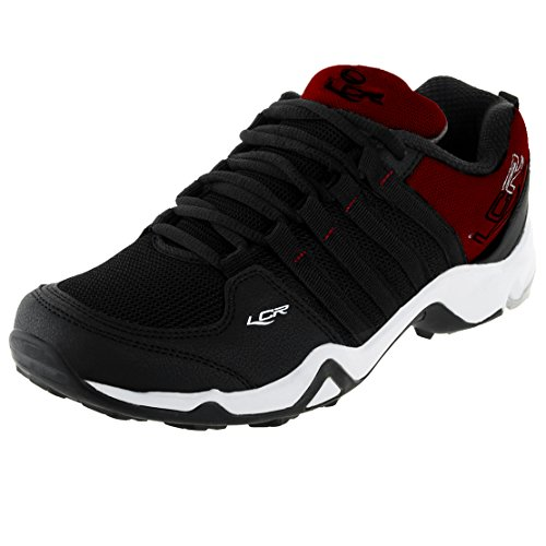 Lancer Men's Black and Maroon Synthetic Sports Shoes - 6UK