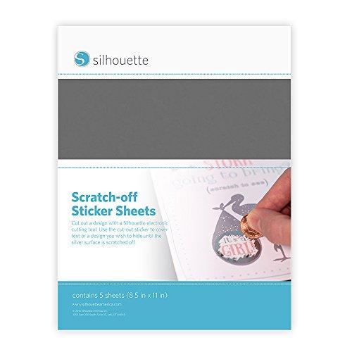 Silhouette MEDIA-SCRATCH-SVR autocollant décoratif Argent, Blanc Permanent - Autocollants décoratifs (Argent, Blanc, Permanent, 5 feuilles)
