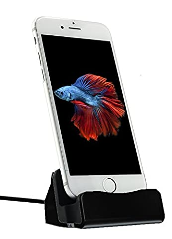 MyGadget Dockingstation Ladestation fürs iPhone (inkl. 1m Kabel) Dock Ladegerät für Apple Smartphone X,8, 7, 7 Plus, 6s, 6s Plus, 6, 5, 5s, 5c, SE, iPod nano 7, 5G in Schwarz