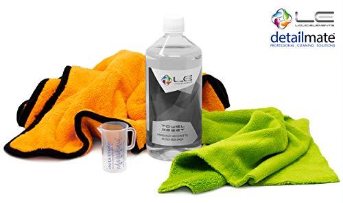 detailmate Set Liquid Elements: Orange Baby XL Microfasertuch (40x60cm), Biliteral Mikrofasertuch speziell für Auto Innenreinigung, Mikrofaserwaschmittel 1L, Messbecher 50ml