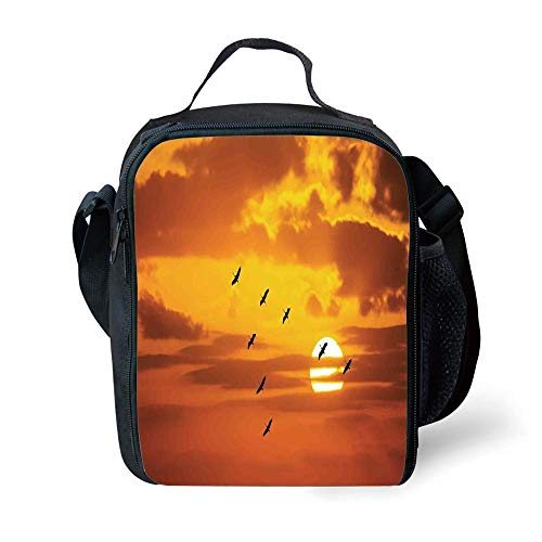 MLNHY School Supplies Birds,V Shaped Formation Flying in Cloudy Sky with a Shining Sun at Sunset Cloudscape Print,Orange for Girls or Boys Washable