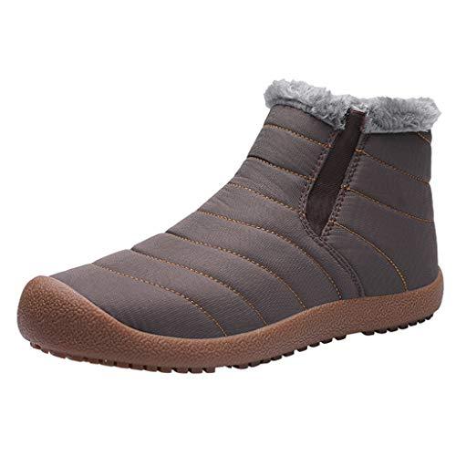 MISSQQStivali da Uomo, Scarpe Invernali Neve Boots con Cerniera Stivaletti più Velluto Flat Mocassini Casual Scivolare con Comoda Suola Sconto Natale