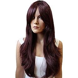 PRETTYSHOP Perruque complète unisexe regardant naturel lisse cheveux longs Cosplay Party Vin rouge # 99J PHK19