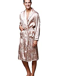 12b6a96891 Men s Dressing Gown Bathrobe Satin Kimono Dressing Gown Men Nightwear  Housecoat Pyjamas