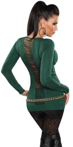 Koucla pull pour femme avec col en v taille unique (32–38) Vert - Vert