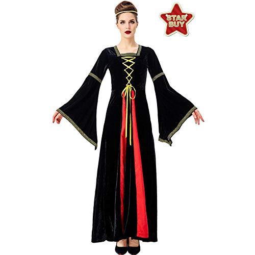 Kostüm Paare Namen Ein Halloween - COSOER Halloween Kostüm Mittelalterliches Europäisches Gericht Vintage Renaissance Langarm Zweifarbiges Maxikleid,Black-XL