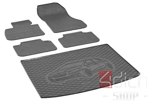 Passgenaue Kofferraumwanne und Gummifußmatten geeignet für BMW 2 Active Tourer ab 2015 - EIN Satz