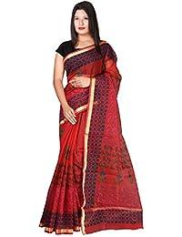 Panvi Kota Doria Cotton Silk Saree With Blouse Piece (P-44_Hand Block Printed Red_Free Size)