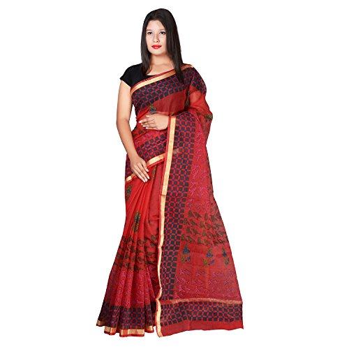 Panvi Kota Doria Cotton Silk Saree with Blouse Piece (P-44_Hand Block Printed...