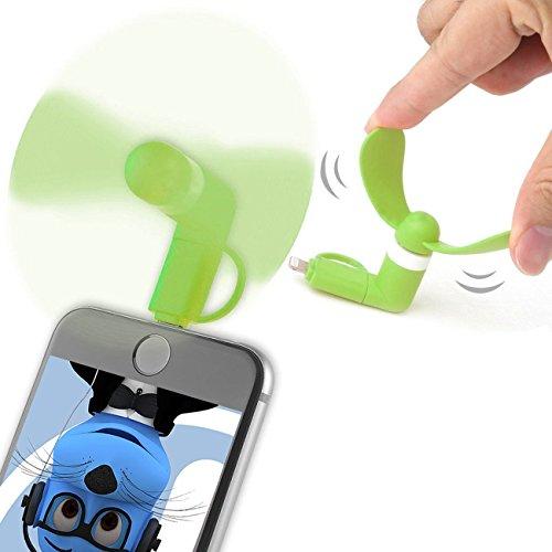 Grün Selfie Taschenformat Mini Lüfter Zubehör mit 2 in 1 Stecker Micro USB und IOS Für LG P500 Optimus One