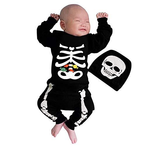 Helden Deiner Kindheit Kostüm - Halloween Kostüm Baby Skelettdruck Strampler Langarm