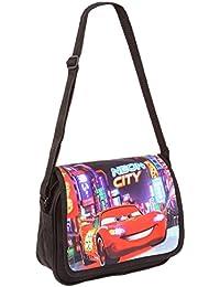 Sac bandoulière enfant garçon Mc queen Cars -Neon city Noir 24cm