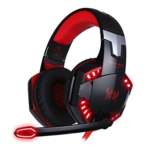 Casque Gaming Micro ArkarTech G2000 Casque Filaire PC Headset Basse Stéréo LED Lumière Contrôle du Volume pour PC, Rouge et Noir