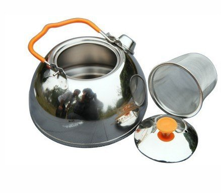 BRS Food Grade Edelstahl Wasserkocher Teekanne für Outdoor Camping Wandern Picknick(1.1L) (Food Grade Edelstahl)