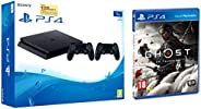 Sony PS4 1TB Slim Console with Additional Dualshock Controller (Black)&PS4 Ghost of Tsushima (