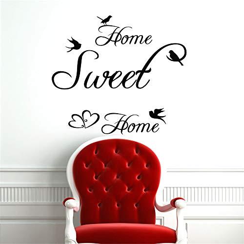 wlwhaoo Home Sweet Home Vogel Herz Dekor Wandaufkleber Art Vinyl Abnehmbare DIY Wohnzimmer Wandtattoos Wandbilder Kaffee 70 cm x 59 cm