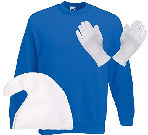 Coole-Fun-T-Shirts Blauer Zwerg Sweatshirt blau + Zwergenmütze Weiss + Handschuhe Gr.4XL