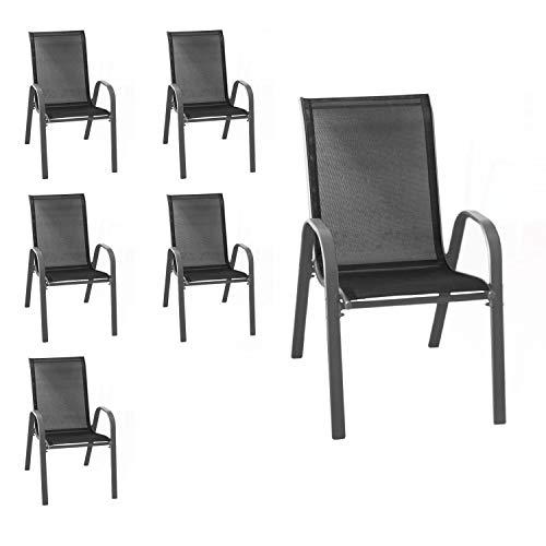Wohaga® 6er Set Stapelstuhl 'New York', Textilenbespannung Schwarz, Stahlgestell pulverbeschichtet Anthrazit, stapelbar, Gartenstuhl